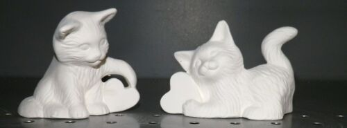 Set of 2 Kittens Kitty Cats with Hearts *Ceramic Bisque Ready to Paint
