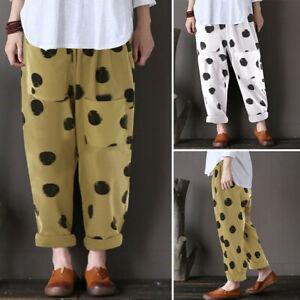 ZANZEA-Women-Elastic-Waist-Polka-Dot-Long-Harem-Pants-Vintage-Cotton-Trousers