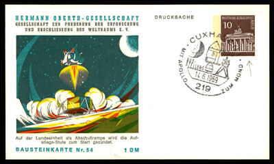 Berlin Privat-ga 1969 Weltraum Space Bausteinlarte 54 Hog Hermann Oberth Ep55