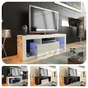 Details Sur Moderne Meuble Tv Avec Televiseur De 130 Cm Flottant Porte Brillante A10