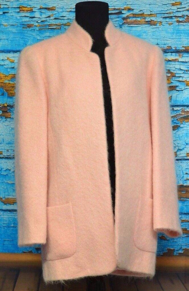 New England Sz M Classics MERIN Open Front Blazer Coat Tunic Pink bluesh USA Fuzz