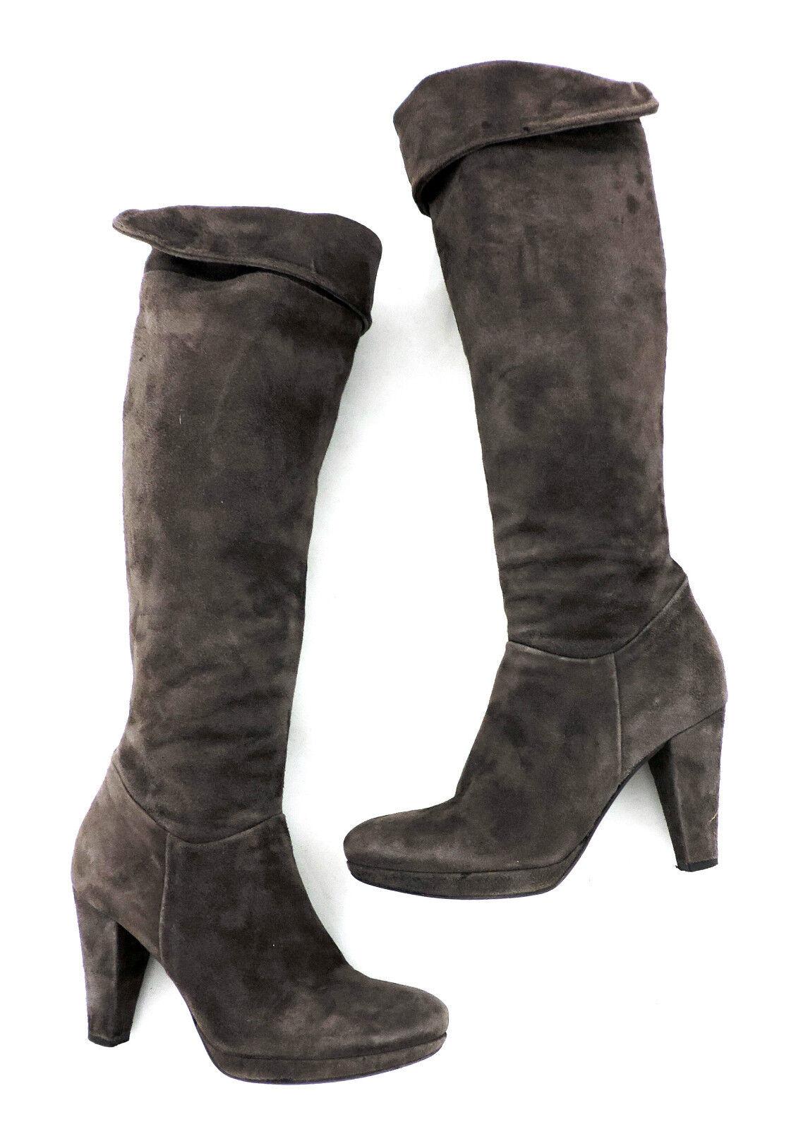 Progetto heels Stiefel 37 grau braun Wildleder high heels Progetto Stulpenstiefel wie neu Stiefel f04fbf