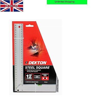 "Dekton 12/"" Steel Set Square Horizontal Spirit Level Hardened and Tempered New"