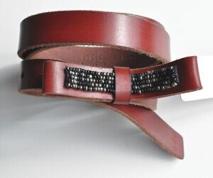 Esprit-Rotbrauner-Leder-Guertel-20-mm-breit-Gr-85-mit-Schleife