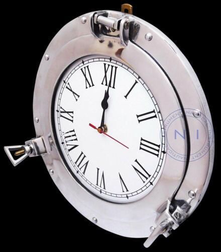 "Ship 12/"" Aluminium Porthole Clock Ship/'s Window Nautical Wall Hanging Clock"