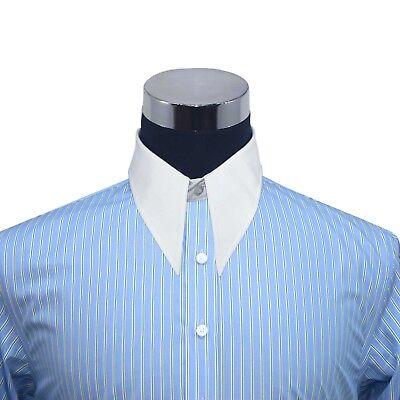 Speer Spitz Kragen Herren T-shirt Blau Grün Streifen 1930 Vintage Klassiker Eine GroßE Auswahl An Modellen