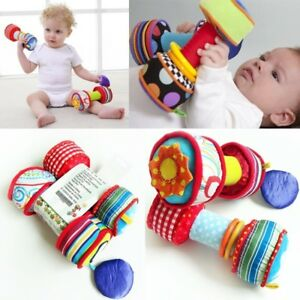 Infant-Baby-Kid-Child-Rainbow-Colourful-Soft-Mirror-Rattle-Dumbbells-Explore-Toy