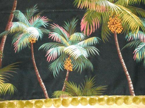 Jacqie/'s VINTAGE POM-POMS VALANCE Tropical Hawaiian Barkcloth ~Palm Trees-Black~