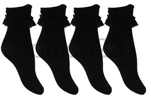 K07-GIRLS-TEENS-OLDER-GIRLS-6prs-FRILLY-LACE-COTTON-SOCKS-12-3-4-6-BLACK-COLOR