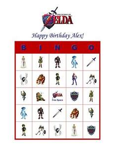 Image Is Loading Zelda Birthday Party Game Personalized Bingo Cards