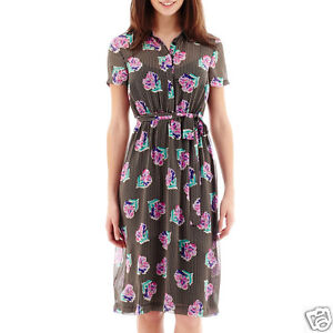 I-Heart-Ronson-Short-Sleeve-Belted-Floral-Dot-Print-Shirtdress-Size-XS-New