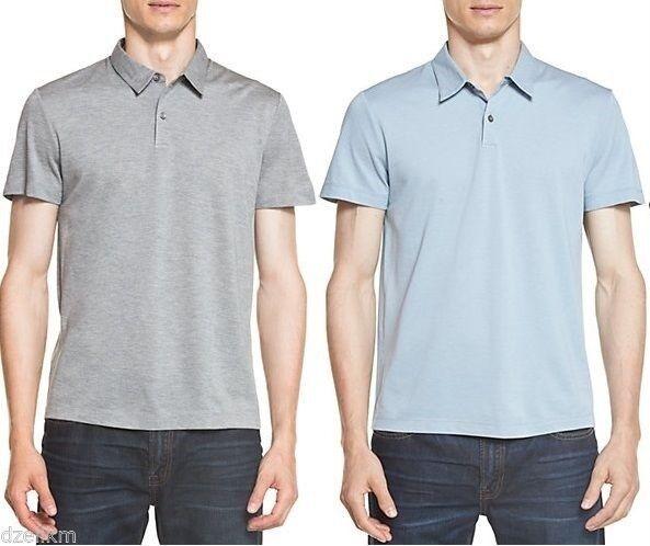 NWT  Theory Short Sleeve Two-button Silk Cotton Pique Polo Shirt