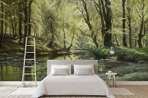 3D River Landscape Oil Painting Self-adhesive Removable Wallpaper Murals Wall 36