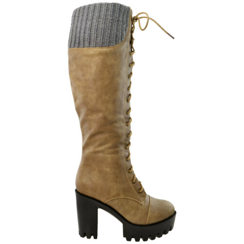 Knee High Boots Platform Chunky Heel Women/'s Lace Up Combat Military Styles
