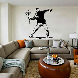 banksy wandtattoo wandaufkleber wandsticker decal sticker aufkleber deko blumen ebay. Black Bedroom Furniture Sets. Home Design Ideas