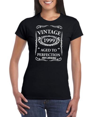 20th regalo de cumpleaños regalo de 1999 años de edad a la perfección para Mujer Gracioso Camiseta