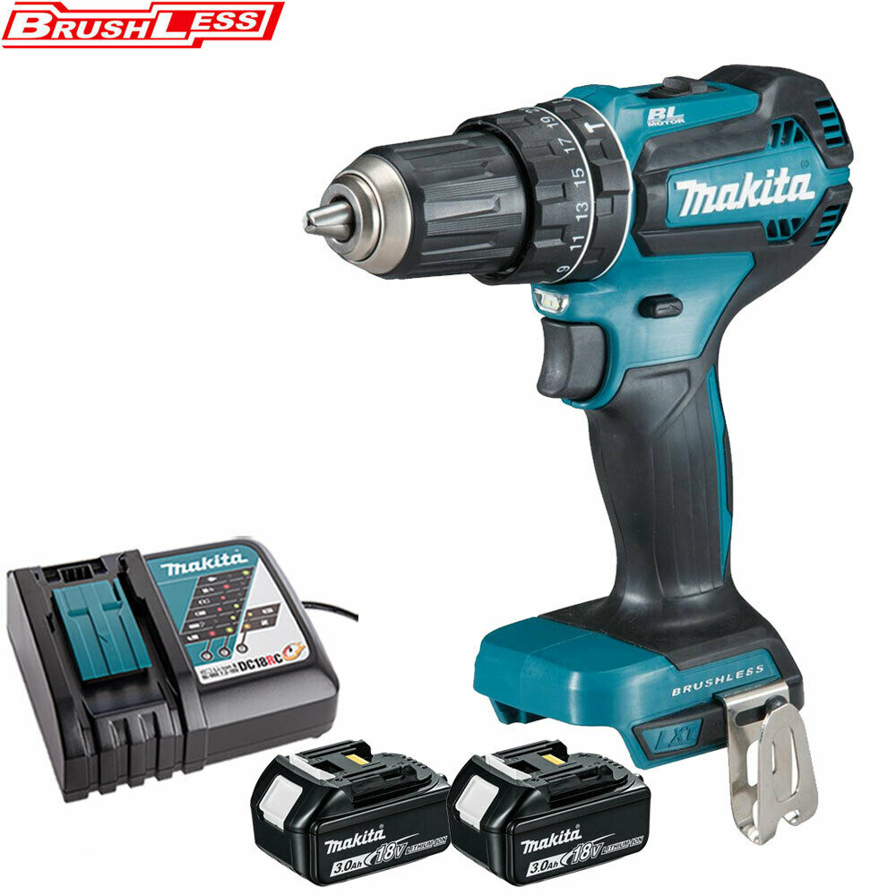 Makita DHP485Z 18V Brushless Combi Drill With 2 x 3Ah BL1830 Batteries & Charger