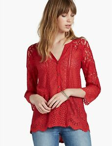 Lucky-Brand-Red-Lace-Button-Up-Tunic-Top-Shirt-Blouse-Knit-V-Neck-Womens-Sz-M