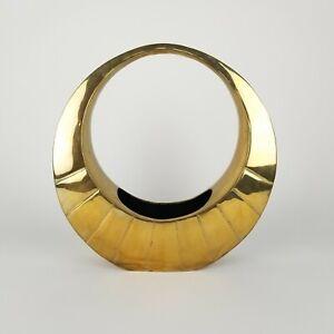 Mid Century Brass Vase Dolby Cashier Asian Moon Style Ikebana XL HEAVY 8 LBS