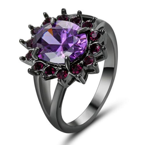 Violet Améthyste Anneau Mariage Zircone cubique Noir Rhodium Plaqué femme bijoux taille 8
