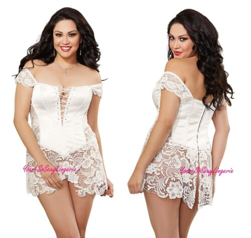 Plus Size WHITE SATIN BEYONCE CORSET Venice Lace SKIRT Bridal Boudoir Wear