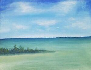 Original-Acrylic-Painting-Ocean-landscape-seascape-beach-waves-scene-8x10-canvas