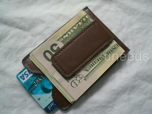 Magnetic-brown-Leather-Money-Clip-ID-Wallet-Card-Holder