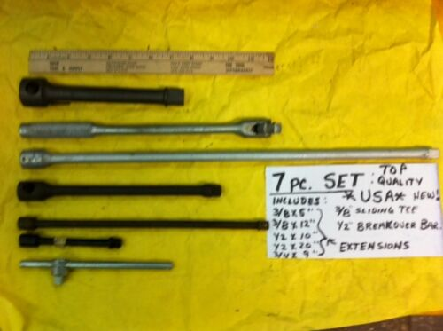 "Assorted Socket Extensions Breaker Bar Tee 3//8/"" 1//2/"" 3//4/"" Drives 7 Piece Set"