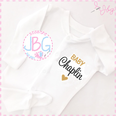 Girl clothes Embroidered Design Personalised Baby Unicorn Sleepsuit Unisex