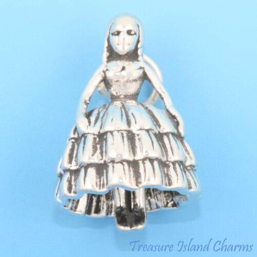 Southern Belle Cendrillon Bal Fille Demoiselle D/'honneur 3D .925 Sterling Silver Charm
