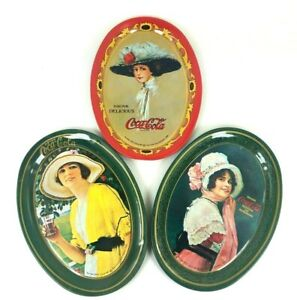 Coca-Cola-1973-6-034-x-4-25-034-Metal-Tin-3-Trays-1909-1914-1920-Ads-Collectible-LOT