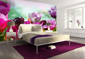 Grande-carta-da-parati-per-camera-letto-254x183cm-floreale-murale-Tulipani