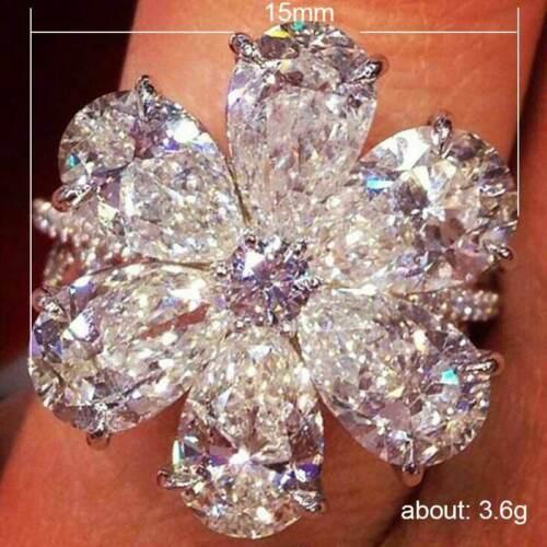 Women 925 Silver Rings Charm Water Drop Cut Cubic Zirconia Flower Ring Size 6-10