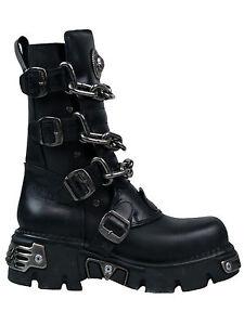 New-Rock-Stiefel-Boot-713-Reactor-Negro-Toberas-Ketten-Chains-Schnallen-5013