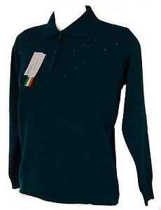 Pavone Col Xl Donna Bottoni Polo Maglia Taglia Art Sweater 15123 Biesse Strass qPCvA