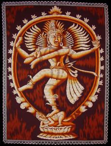 SHIVA-NATARAJ-hinduism-Stoffbild-Wandbehang-baumwolle-Batik-GOA-Indien-75-x-105