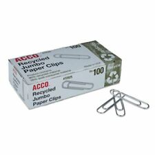 Acco Recycled Paper Clips Jumbo 100box 10 Boxespack Acc72525