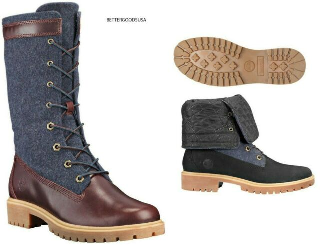 reputation first new selection best selling Timberland Women Jayne Waterproof GAITER BOOTS Mid-calf Combat Burgundy  Navy 7 M