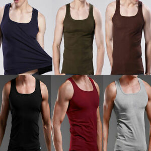 Men-039-s-Plain-T-Shirts-Tank-Top-Muscle-Cami-Sleeveless-Tees-A-Shirt-Cotton-Vest