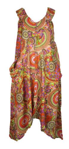 Lagenlook Col V Robe Tunique Boho Hippie Plage Caftan Taille 16 18 20 22 24 26