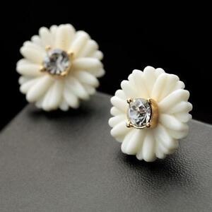 Boucles d/'Oreilles DormeuseS Fleur Perle Blanc Rose Email Original Mariage L1