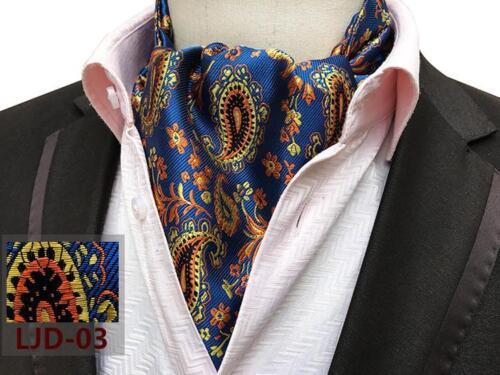 Cravate Ascot Bleu Rouge Noir Orange Turquoise Jaune Gris Cachemire 100/% Soie