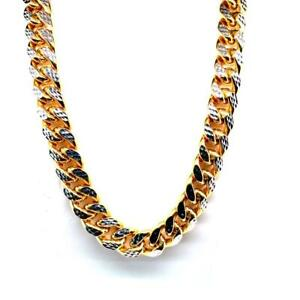 BRAND NEW 10KT 2 TONE GOLD DIAMOND CUT MIAMI CUBAN LINK 9MM CHAIN Canada Preview