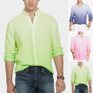 Men-039-s-Long-Sleeve-Gradient-Tee-Formal-Dress-Shirt-Casual-Loose-Fit-Blouse-Tops