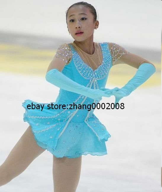 Details about  /Ice skating dress.Turquoise Figure Skating //Sleeve gloves attached// Baton Dress