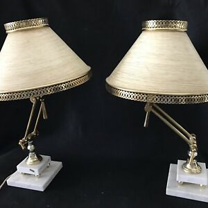 Details About Vintage Brass Piano Bankers Student Desk Lamp Light With Marble Base And Ball