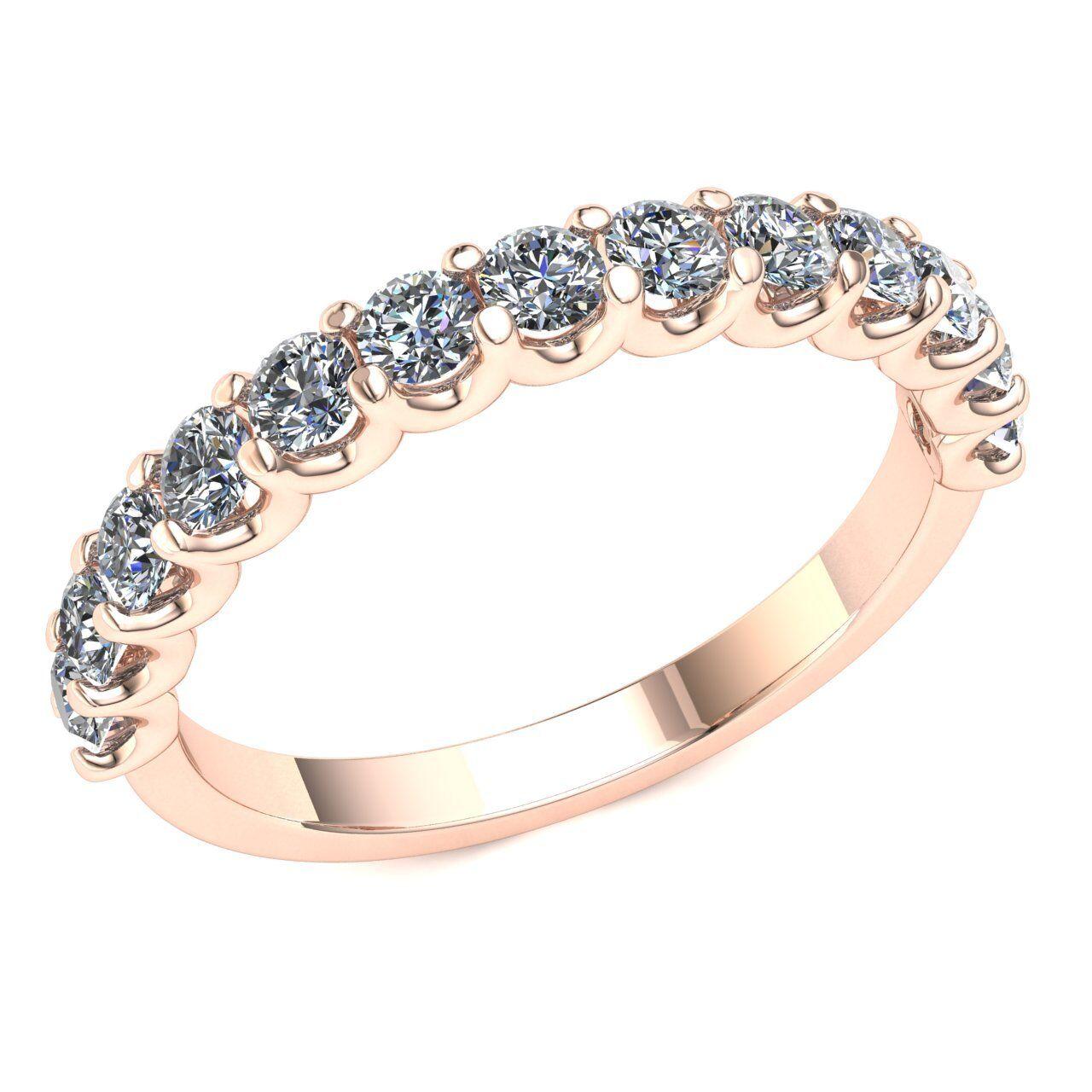 Natural 0.95 Ct Round Diamond Ladies Bridal U-Prong Half Eternity Ring 14k gold