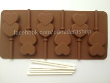 Double Heart Chocolate Lollipop Jelly Clay Fondant Silicone Mold Molder