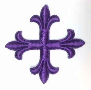 Vintage-Frances-Cruz-3-034-Bordado-para-Coser-Violeta-B-Emblema-Parche-2PC