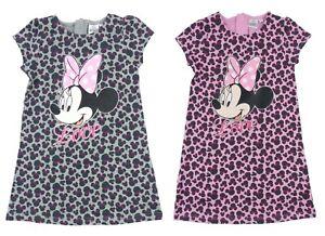 ba3b74c33a09 Girls Minnie Mouse Dress Leopard Print T Shirt Jersey Dress Summer ...
